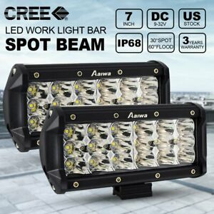 2x 7inch 90w Spot Light Cree Led Work Light Bar Offroad Truck Boat 4wd 12v 24v