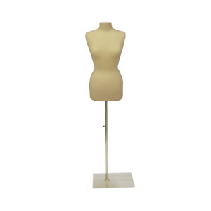 Female Dress Form Pinnable Foam Mannequin Torso Size 6 8 With Square Metal Base