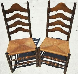 2 Vintage Rustic Farmhouse Walnut Ladder Back Dining Accent Rush Seat Chairs