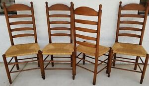 Set Of 4 Vintage Rustic Farmhouse Ladderback Dining Rush Seat Chairs