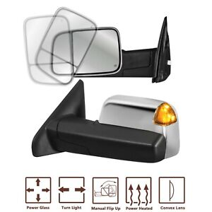 L R Chrome Power Heated Towing Mirrors Turn Signal For 03 09 Dodge Ram 2500 3500
