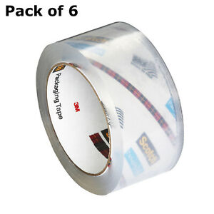 6x Multipurpose Heavy Duty Scotch Tape Shipping Packaging Parcels Tape Clear