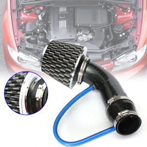 Carbon Fibre Car Cold Air Intake Filter Induction Pipe Power Flow Hose Reducer