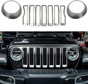 Headlight front Grille Inserts Trim Cover For 2018 2019 Jeep Wrangler Jl Sport S