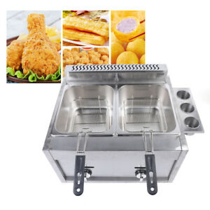 12l Double Bin Deep Fryer Commercial Household Stainless Steel Petroleum 2 Baske