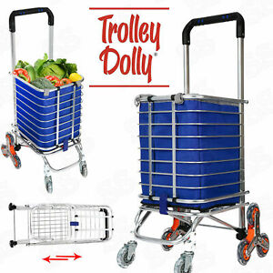 Folding Shopping Cart Jumbo Basket Grocery Laundry Travel W 8 Stair Wheels