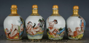 4 Old China Famille Rose Porcelain Dynasty Man Woman Snuff Box Snuff Bottle Set