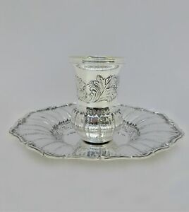 Fine Italian 925 Sterling Silver Handmade Chased Leaf Hammered Shiny Cup