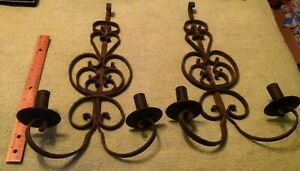 2 Antique Cast Iron Wall Sconces Hand Made 17 Victorian Decor Gothic Horror