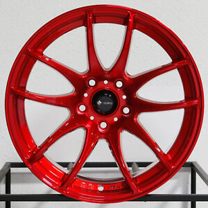 4 new 17 Vors Tr4 Wheels 17x8 5x115 35 Candy Red Rims 73 1