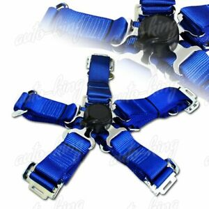 Jdm 2 Durable Nylon 5 Point Cam Lock Safety Harness Seat Belt Blue X1