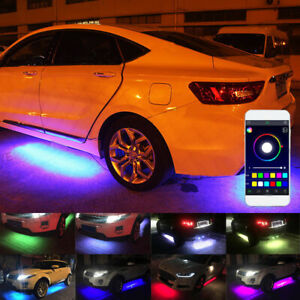 4 Rgb Led Under Car Tube Strip Underglow Body Neon Light Kit Phone App Control
