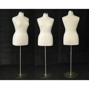 Female Dress Form Pinnable Foam Mannequin Torso Size 18 20 With Round Metal Base
