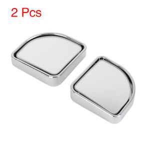 2pcs Car Rearview Blind Spot Mirrors Convex Wide Angle Stick On Silver Tone
