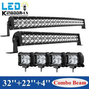 32inch Led Light Bar Curved 34 22 Combo 4 Pods Offroad Fit Dodge Ram 1500