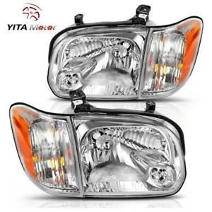 Yitamotor Headlights Pair For 2005 2006 Toyota Tundra 05 07 Sequoia Headlamps