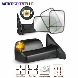 Pair Power Heated Towing Mirrors Led Signal For 03 08 Dodge Ram 1500 2500 3500