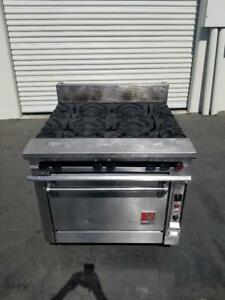 Wolf Fk363a 6 Hole Burner Range Natural Gas 36 W Convection Oven Tested