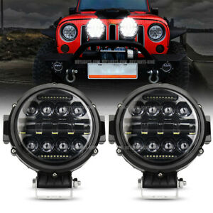 Pair 7 Led Work Light Round Driving Fog Drl Combo Beam Fit Jeep Truck Offroad
