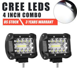2x 4 Inch 200w Led Light Bar Spot Flood Pods Off Road 4wd Driving Fog Lamp 12v