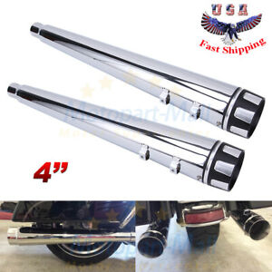 4 Deeper Megaphone Slip On Muffler Chrome Exhaust Pipe For Harley Touring 96 16
