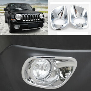 Abs Chrome Front Bumper Fog Light Lamp Cover Trim For 2010 2015 Jeep Patriot