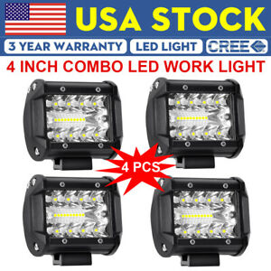 4x 4 Cree Led Work Light Bar Spot Flood Combo Fog Driving For Jeep Ford Offroad