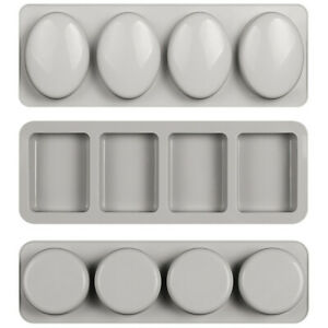 1X(3 PCSSet Oval Rectangle Round Silicone Soap Mold Handmade Craft 3D Soap H3K4 $84.99