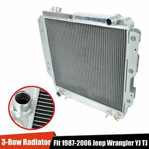3 row Full Aluminum Racing Cooling Radiator For 1987 2006 Jeep Wrangler Yj Tj