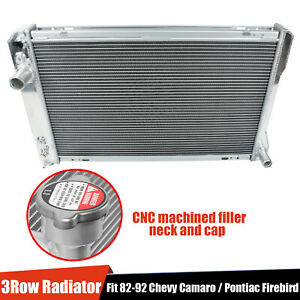 For 82 92 Chevy Camaro pontiac Firebird Trans Am V8 3 row Aluminum Core Radiator
