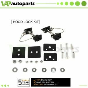 Pair Black Locking Hood Latch Catch Lock Fit For 2007 2017 Jeep Wrangler Jk
