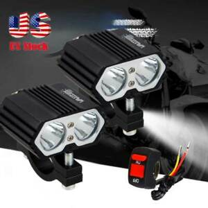 2x 30w Motorcycle Atv Quad Bike T6 Led Headlight Driving Fog Spot Light Switch