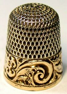 Antique Simons Bros Gold Band Sterling Silver Thimble Scrolls Rrm C1880s