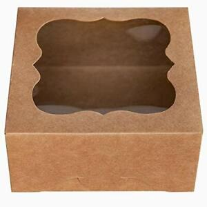 One More 6x6x3brown Bakery Boxes With Pvc Window For Pie And Cookies Boxes Smal