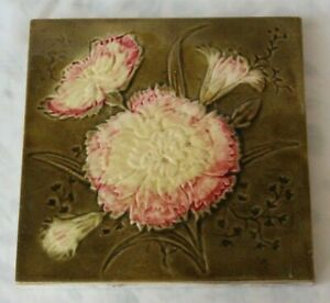 Pretty English Majolica Antique Tile Aesthetic Design