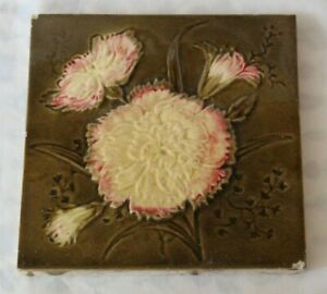 Pretty English Majolica Antique Tile Aesthetic Design Flowers Leaves