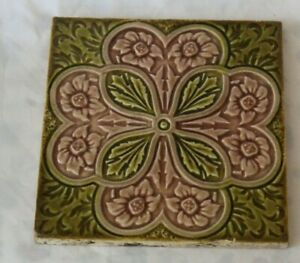 Pretty Two Colours English Majolica Antique Tile Aesthetic Symmetric Design B