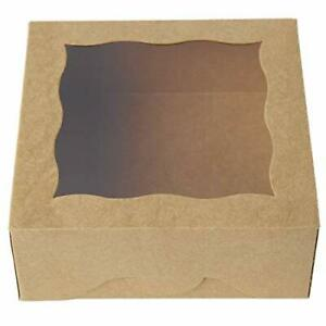 One More 6brown Bakery Boxes With Pvc Window For Pie And Cookies Boxes Small Na