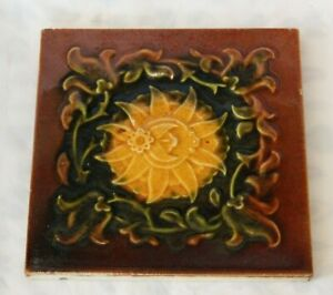 Pretty English Majolica Antique Tile Aesthetic Yellow Flower Design