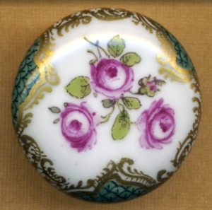 Deluxe Antique Hp Porcelain Button Fat Pillow Shape Withpink Roses 4 Hole Shank