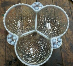 Vintage Fenton Opalescent Moonstone Hobnail 3 Section Candy Relish Dish