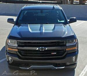 2016 2017 2018 Chevy Silverado Hood Stripes Decals Chase Rally Vinyl Graphic Kit