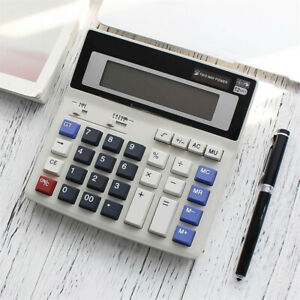 Desk Tabletop Digital Calculator 12 Digits Extra Large Display Kit 2 Way Powered