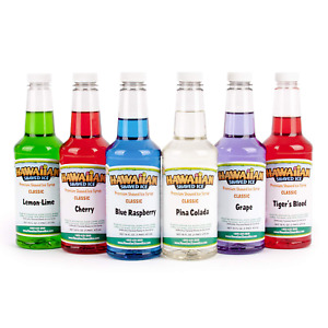 Hawaiian Shaved Ice Sour Syrup 6 Pack Pints Snow Cone Flavors