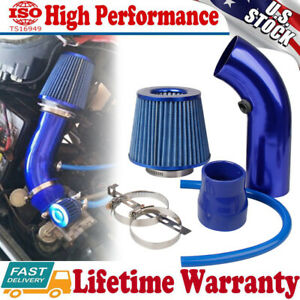 Universal 3 Car Cold Air Intake Filter Induction Kit Aluminum Pipe Hose Blue