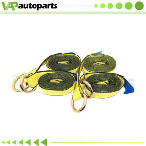 Lasso Straps 4pcs 2 X 12 Wrecker Car Hauler Tow Dolly Wheel Tie Down Yellow
