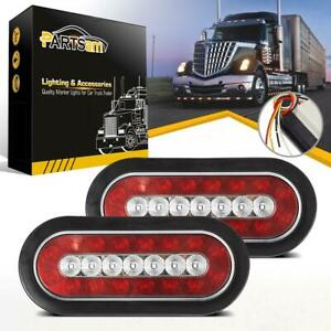 2pcs 6 Oval Red White 23 Led Brake Stop Turn Tail Reverse Lights W Rubber Mount