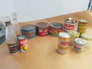 EMPTY VINTAGE TIN  CANS AND BOTTLES  JIF  COFFEE  CATSUP  FINAST BEER  OIL BANK
