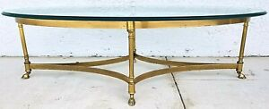 Maison Jansen Hollywood Regency Brass Hoof Footed Cocktail Coffee Table