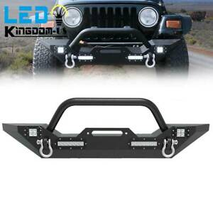 Front Bumper Built In Led Lights D Ring Fits For 1987 2006 Jeep Wrangler Yj Tj